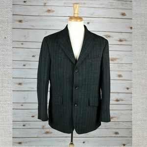 OSCAR DE LA RENTA grey pinstripe sport coat blazer